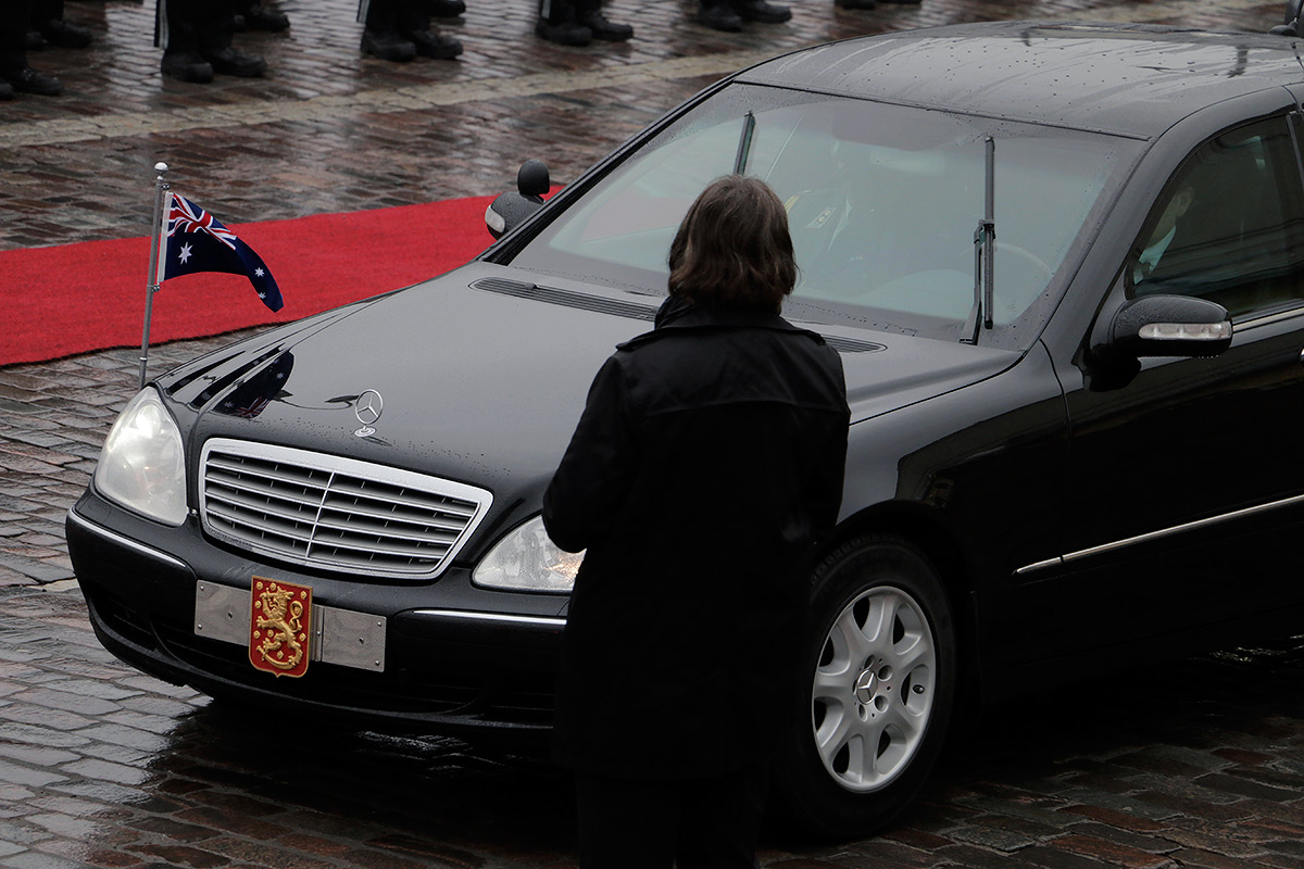 The Cosgroves arriving at the Presidential Palace. Picture: Tony Öhberg for Finland Today