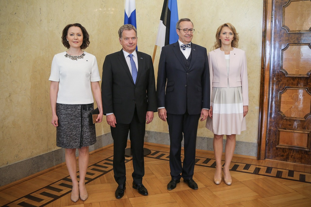 Mrs Jenni Haukio, President Sauli NIinistö, President Toomas Hendrik Ilves and Mrs Ieva Ilves in Tallinn, Estonia on May 17 2016. Picture: Juhani Kandell/The Office of the President of the Republic of Finland