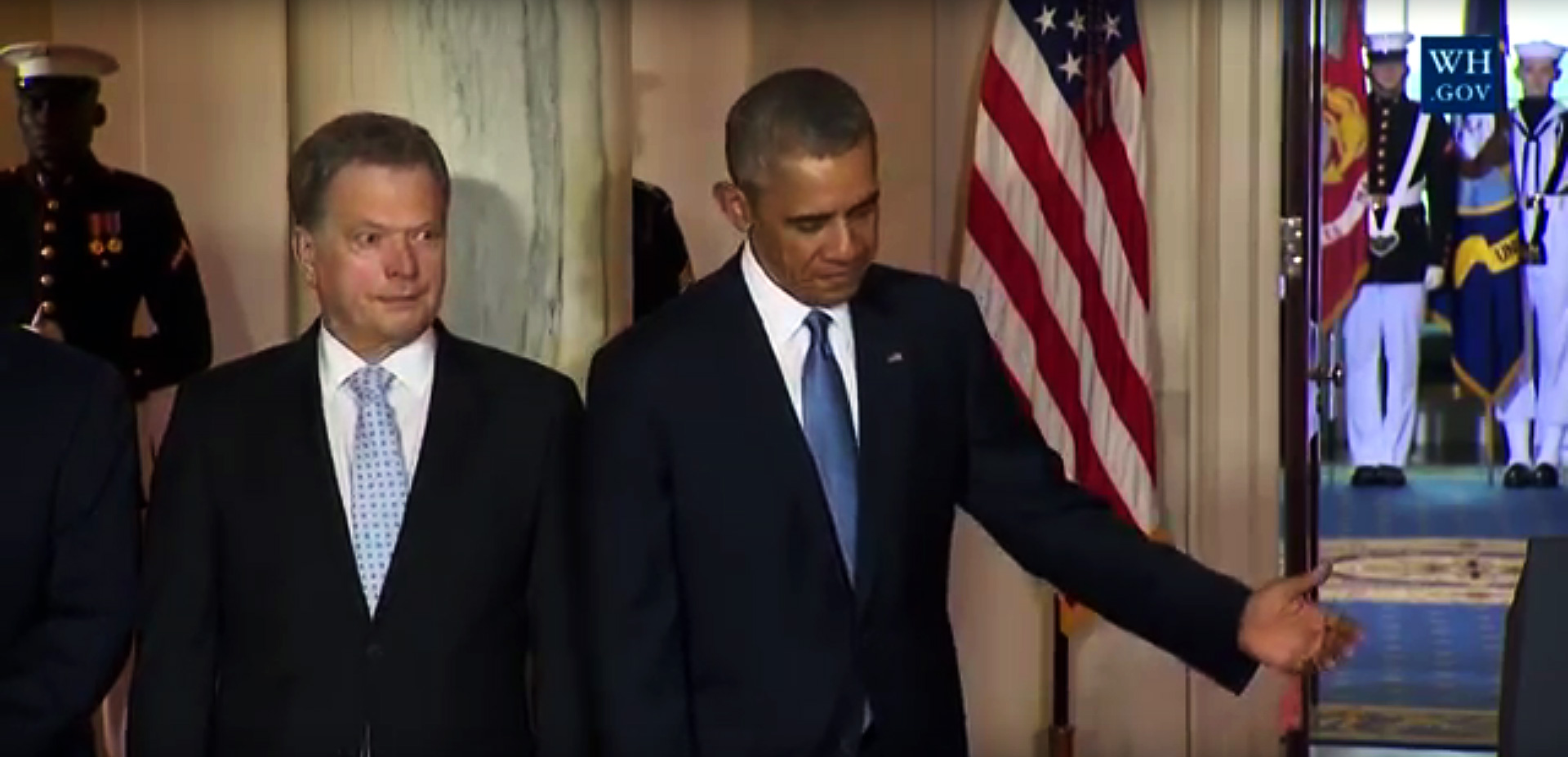 President Sauli Niinistö and his US counterpart, Barack Obama, at the White House in Washington D.C. on May 13 2016. Picture: White House Live Stream