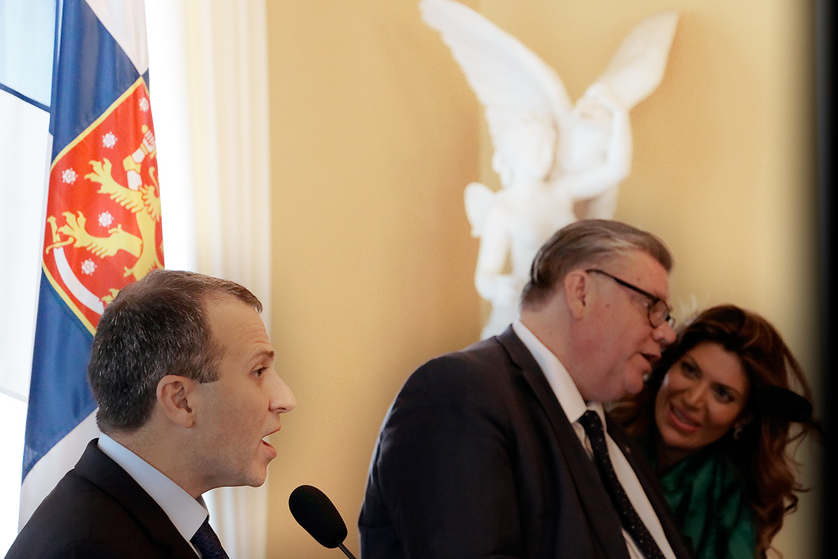 Gebran Bassil, the foreign minister of Lebanon, at a press conference in Helsinki, Finland while his counterpart, Timo Soini, talks with a Lebanese assistant interpreter at the Government Banquet Hall on June 10 2016. Picture: Tony Öhberg for Finland Today