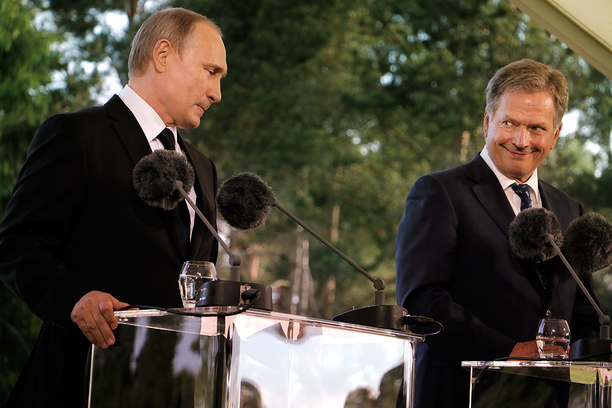 Russian President Vladimir Putin in a press conference with President Sauli Niinistö at the Finnish president's official summer residence, Kesäranta, on July 1, 2016. Picture: Tony Öhberg for Finland Today
