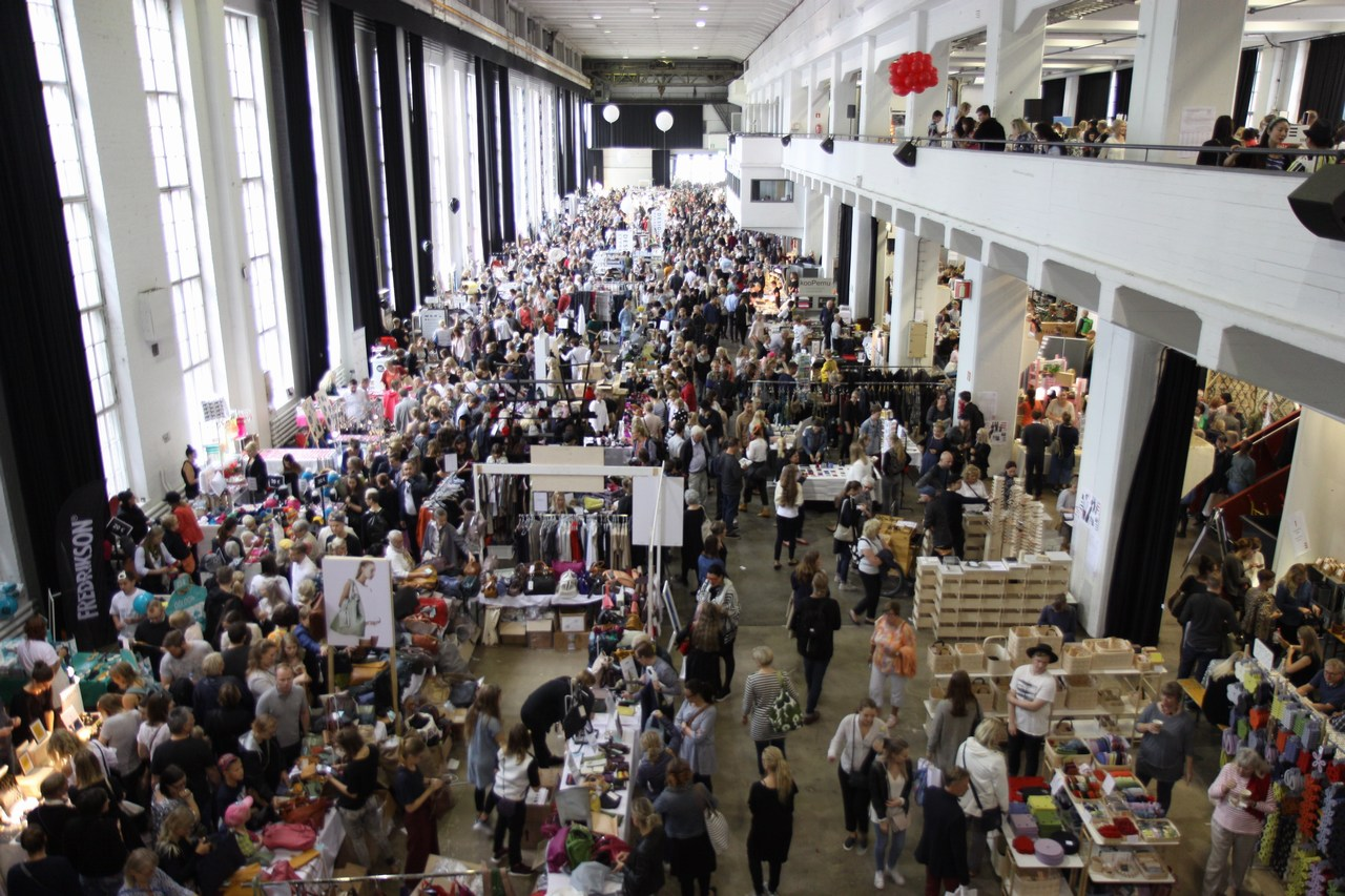 Thousands of patrons visit the Design Market at the Helsinki Cable Factory on September 3 2016. Picture: Rory Barr for Finland Today