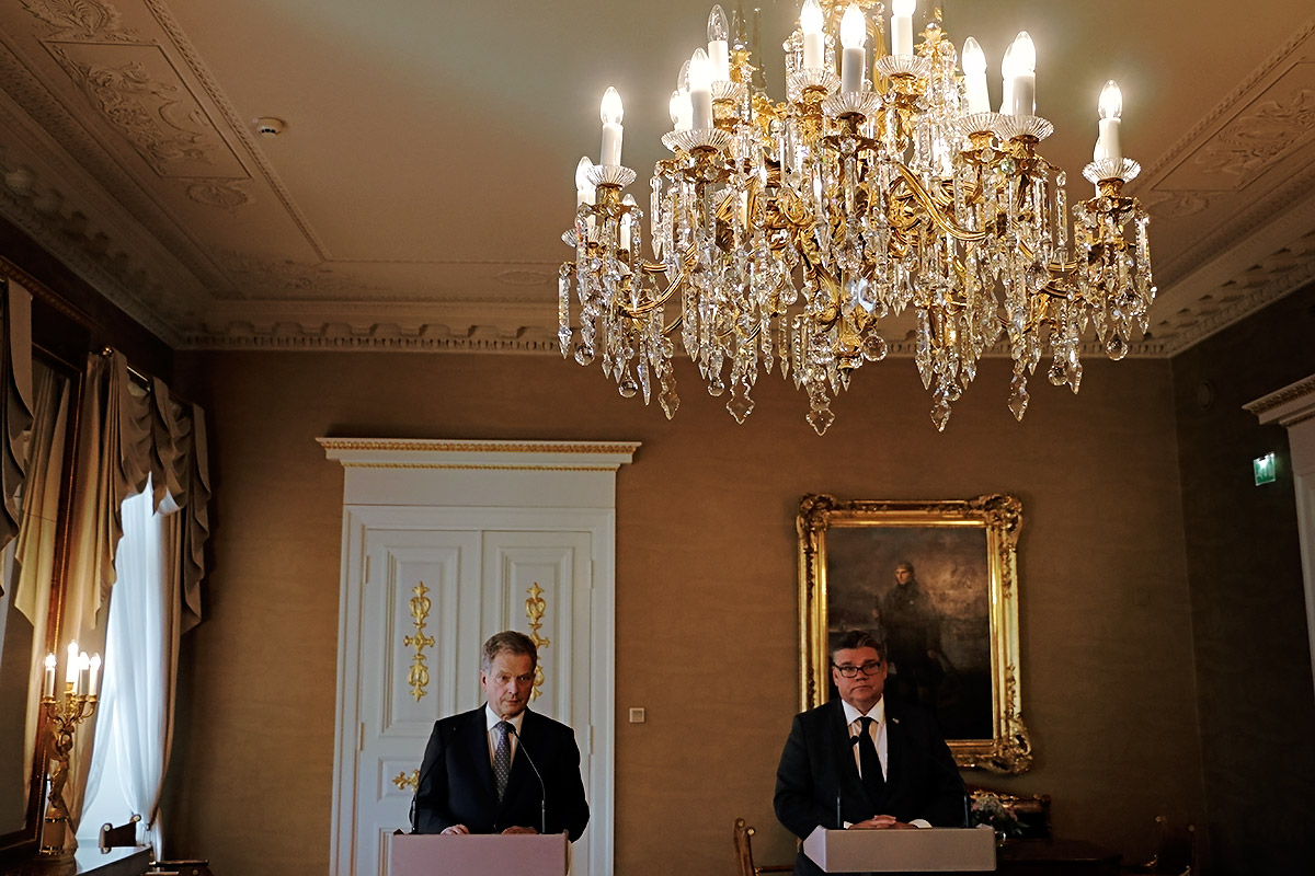Foreign Minister Timo Soini joined the press conference with President Niinistö. Picture Tony Öhberg for Finland Today