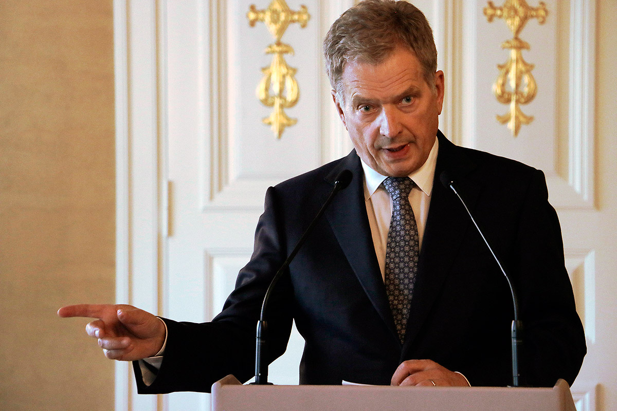 President Sauli Niinistö informing the media at the Presidential Palace on September 30, 2016 about the secret Buk missile test Finland conducted in 2015 to help the Dutch authorities to solve the downing of the Malaysian Airlines MH17 plane in July 2014. Picture: Tony Öhberg for Finland Today