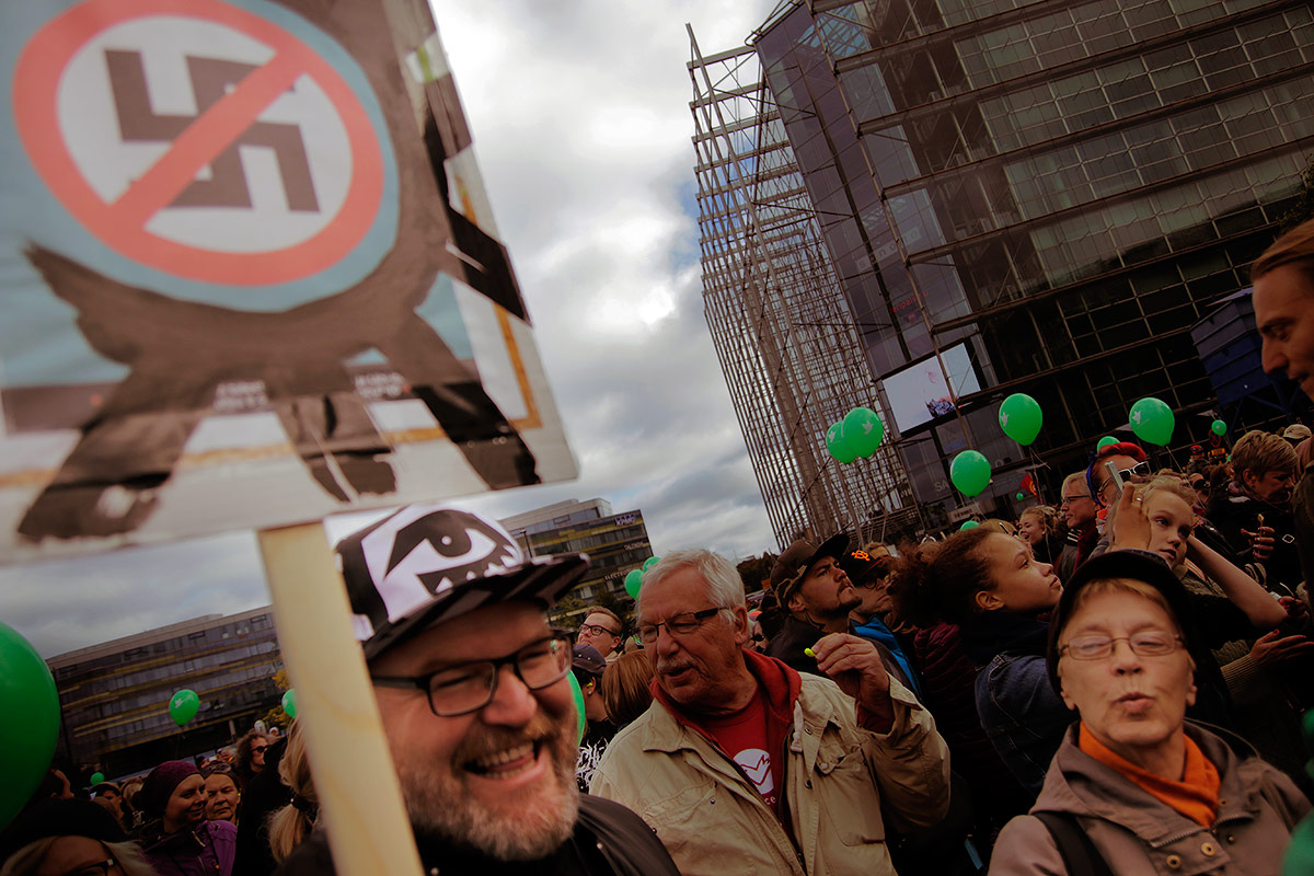 15,000 blew the whistle on racism in September at the Citizens' Square in Helsinki. Picture: Tony Öhberg for Finland Today