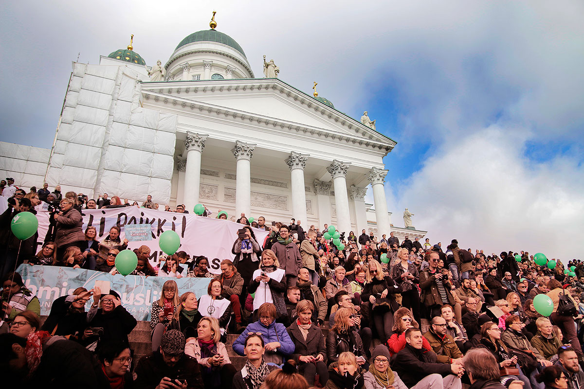15,000 people gathered on the Senate Square, according to the police. Picture: Tony Öhberg for Finland Today
