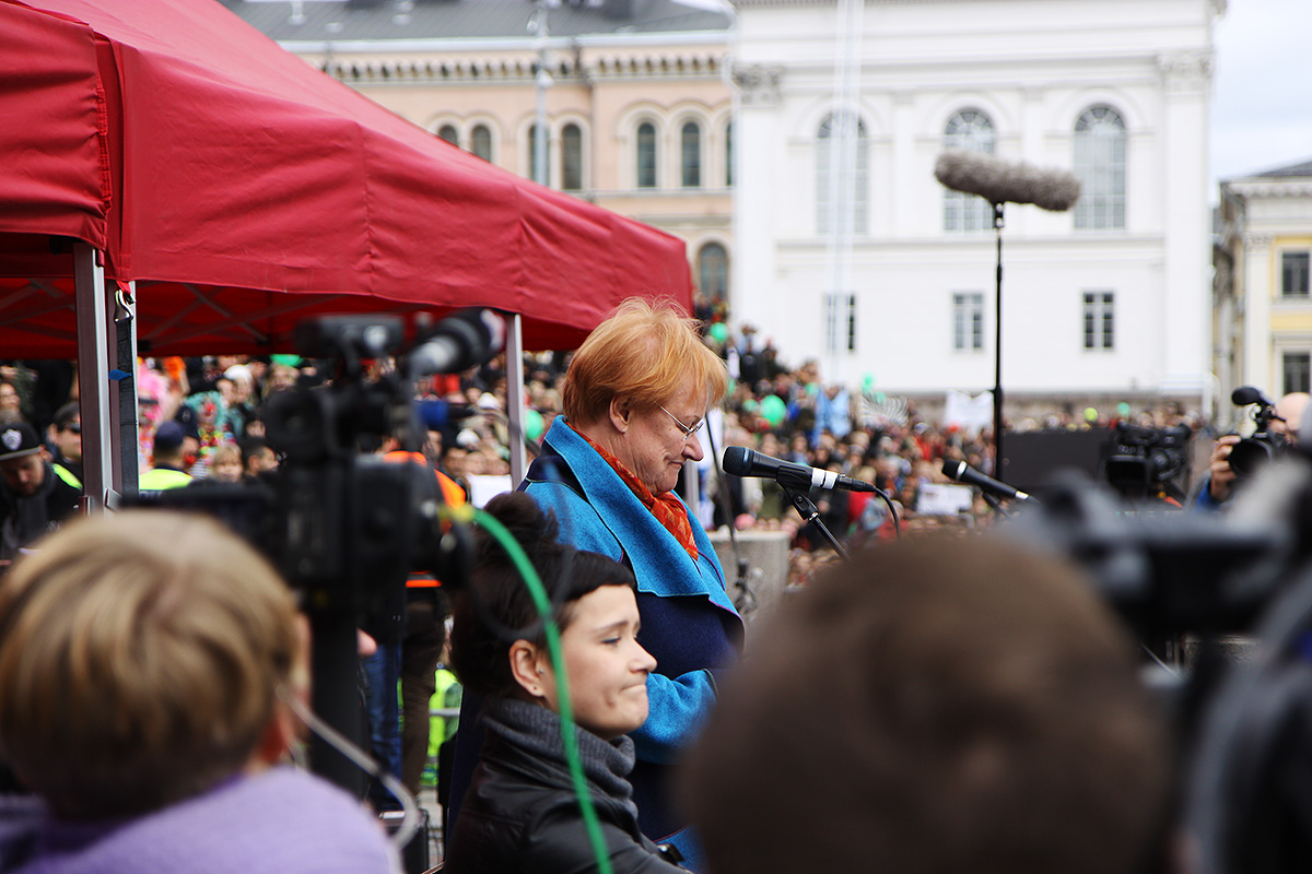 President Tarja Halonen speaking for tolerance at the Senate Square. Picture: Rory Barr for Finland Today