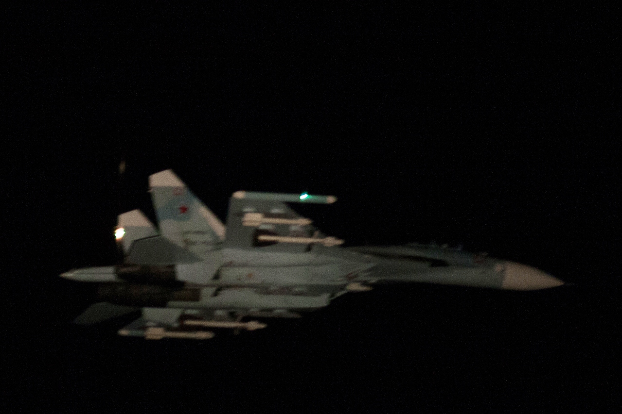The Air Force photographed another Russian Su-27 fighter jet on Thursday evening at 21:33. Picture: The Finnish Air Force