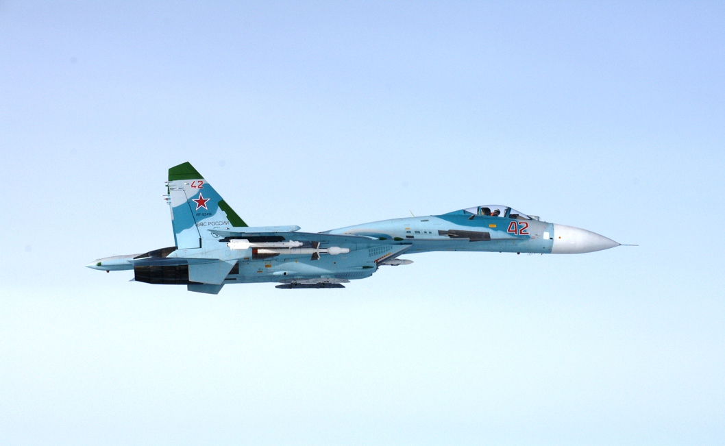 The Finnish Air Force identified and photographed a Russian Su-27 fighter jet in front of Porvoo on Thursday afternoon about 16:43. Picture: The Finnish Air Force