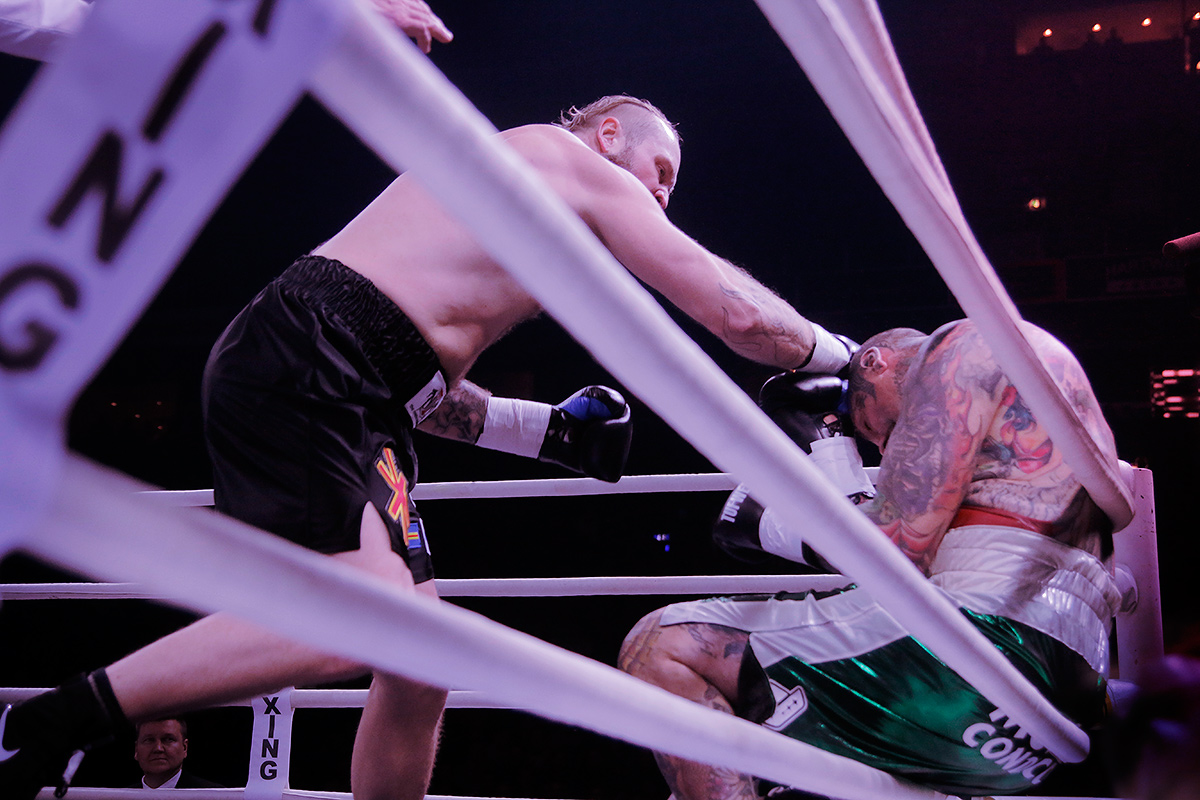 Robert Helenius finishing his fight against Gonzalo Basile by punching him into the ropes furing All In Fight Night at the Helsinki Arena in Helsinki, Finland on Saturday, December 17, 2016. Picture: Tony Öhberg for Finland Today