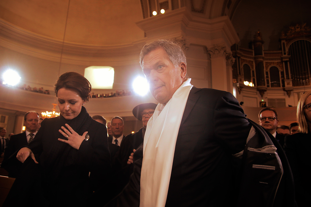 President Sauli Niinistö and his spouse, Jenni Haukio, attend the service. Picture: Tony Öhberg for Finland Today