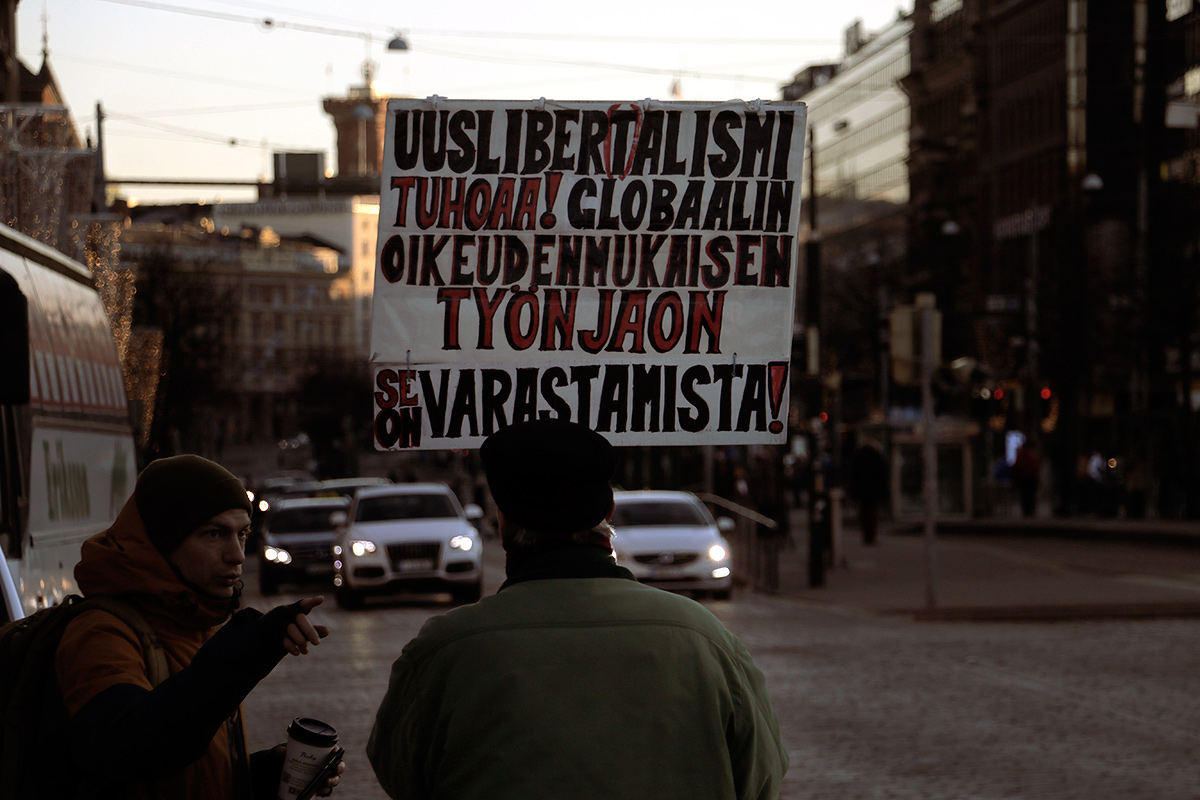 A man attending a protest that demands Finland to separate from the EU at Mannerheimintie. Picture: Tony Öhberg for Finland Today