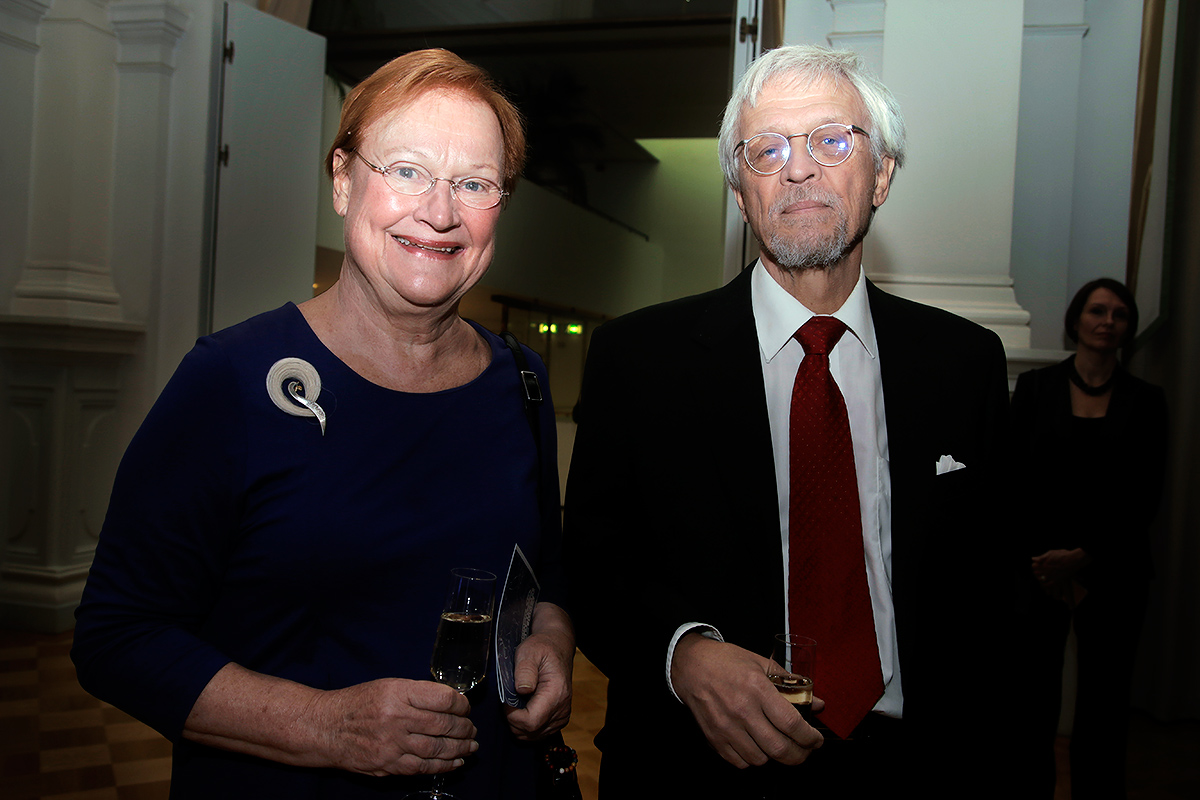 Tarja Halonen, the first female head of state and the eleventh president of Finland (2000-2012), attending the Multicultural Independence Day Celebration with his spouse, Pentti Arajärvi, at the Helsinki City Hall. Picture: Tony Öhberg for Finland Today