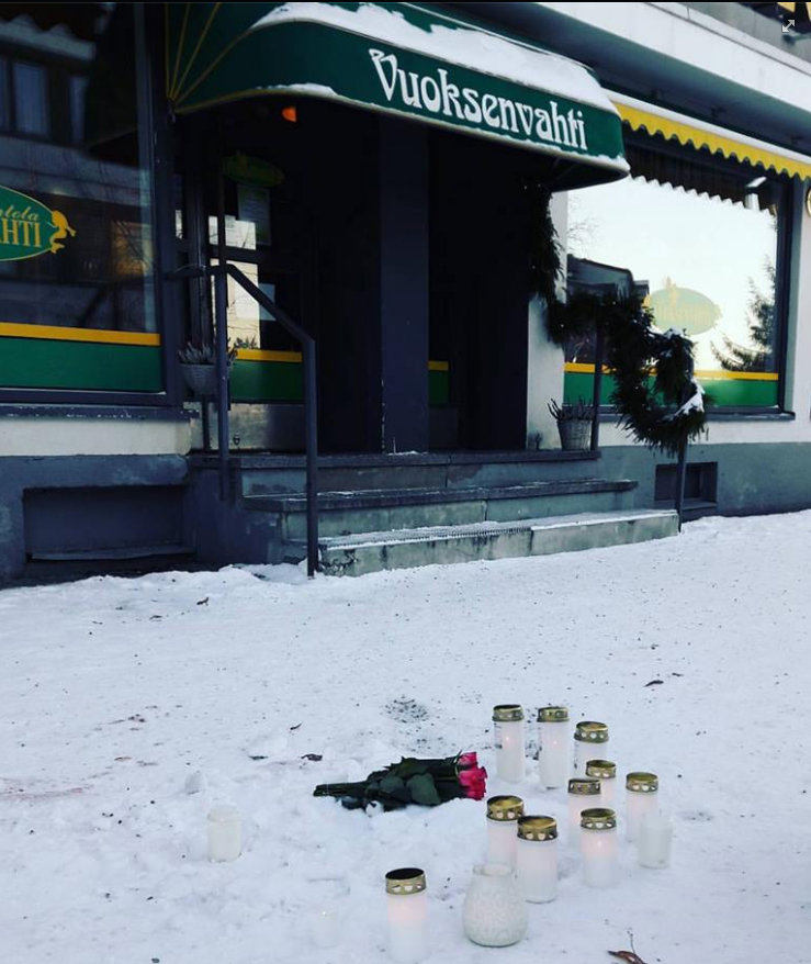 Memorial candles stand in front of Vuoksenvahti bar on Sunday, December 4. A screen capture from Vuoksenvahti's Facebook page. Picture: Minttu Salonen