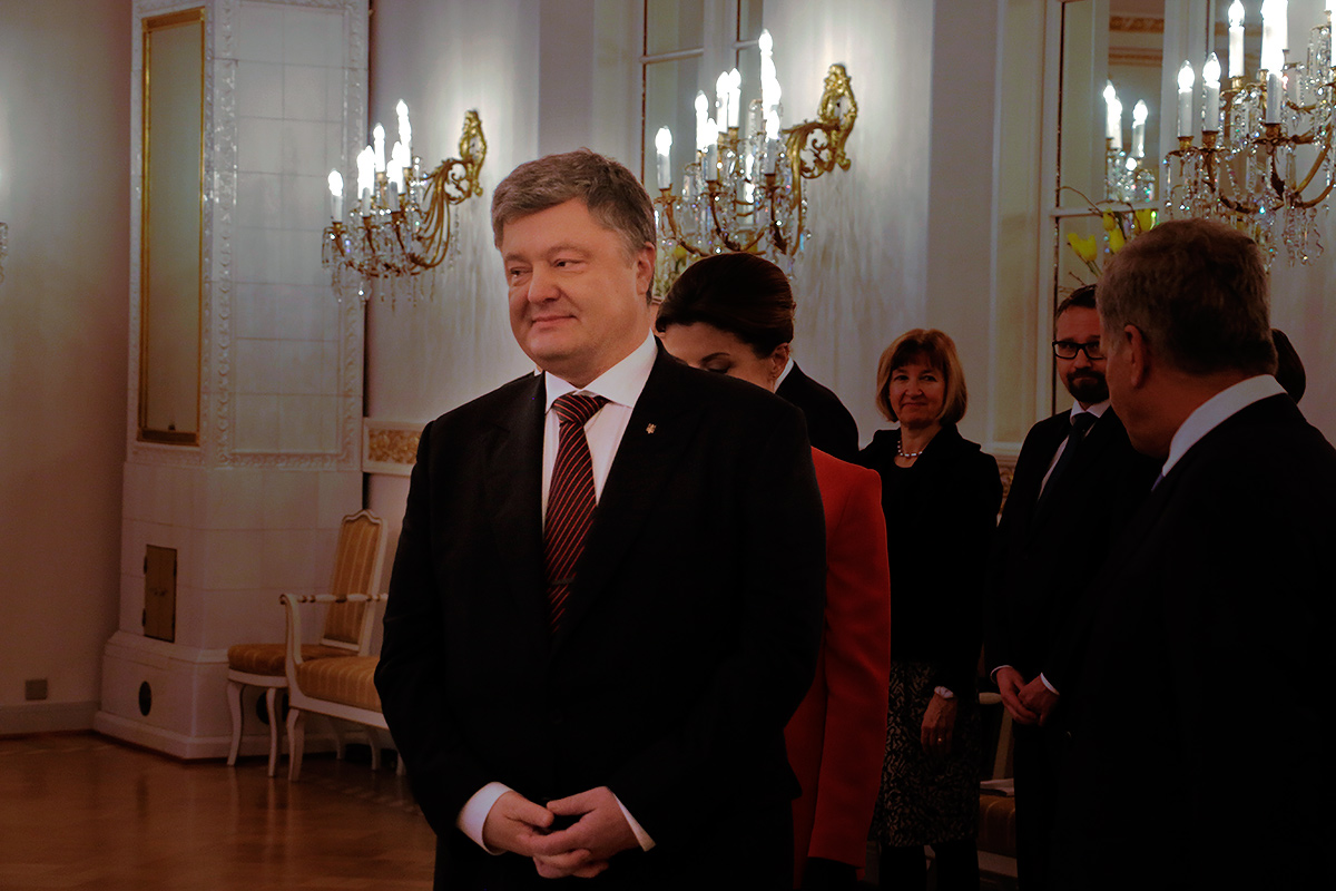 Ukrainian President Petro Poroshenko asked help from his Finnish counterpart to end the Russian aggression in Ukraine at the Presidential Palace in Helsinki, Finland on January 24, 2017. Picture: Tony Öhberg for Finland Today