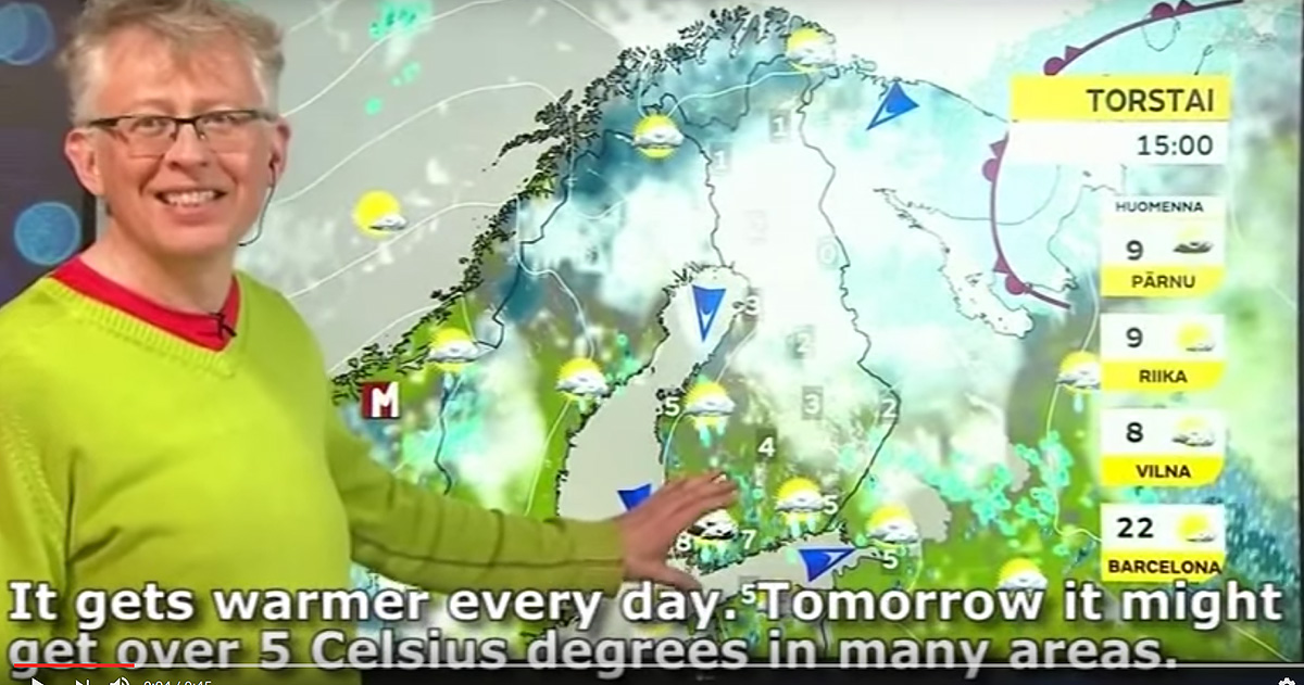 Watch How the Most Seasoned Weatherman Can't Broadcast the Finnish Weather Without Laughing