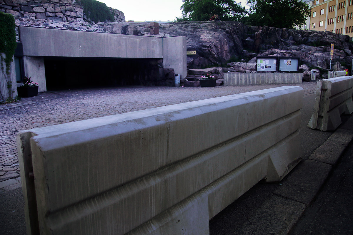Jersey Barriers Block The Entrance to Temppeliaukio Church Because of a Suspected Terrorist Threat