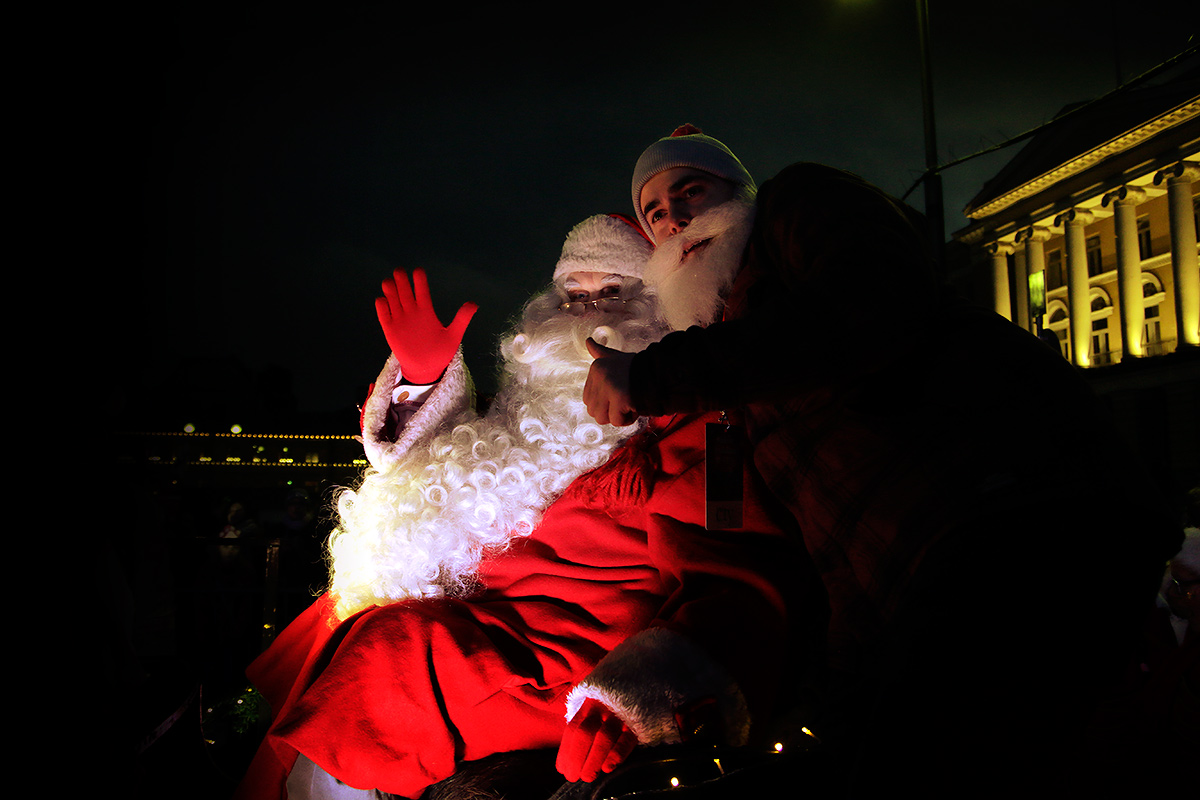 Santa Comes to Town During the Opening of Christmas Street in Helsinki