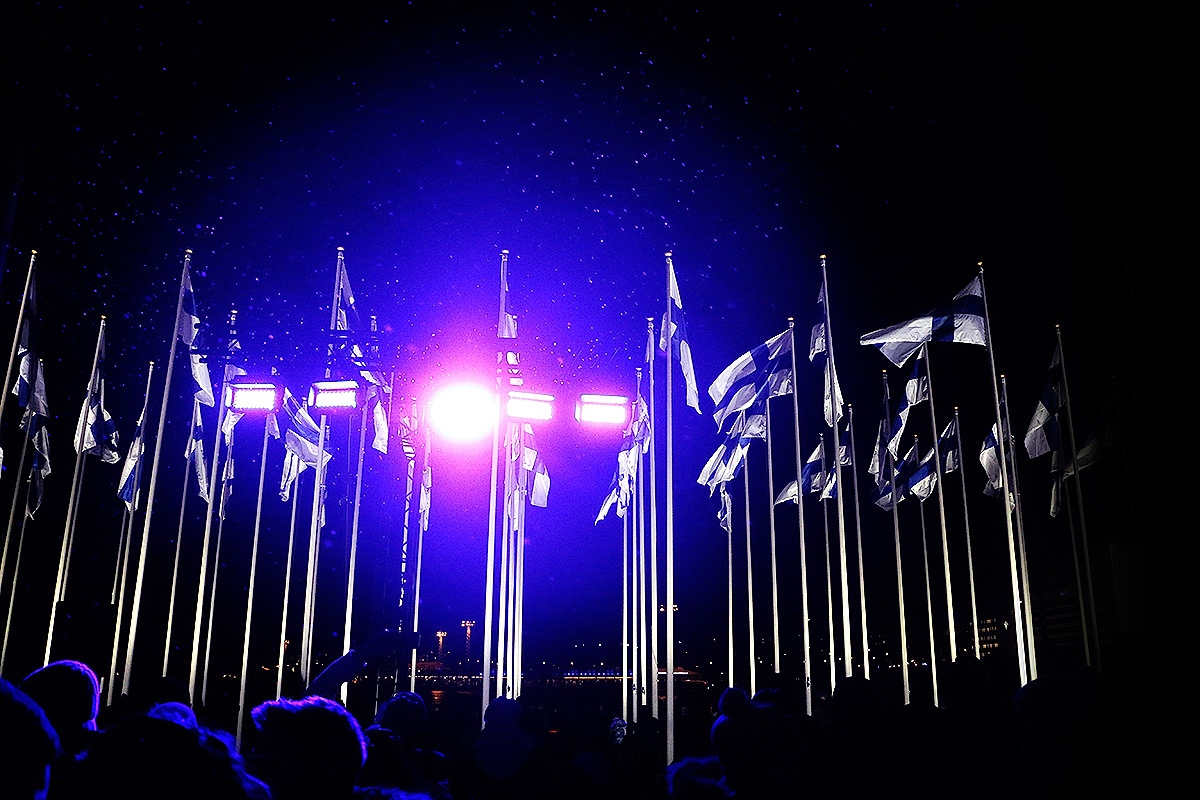 20,000 People Observe As 100 Flags Were Hoisted To Honor Finland's Centenary in Helsinki
