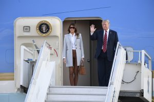 The US President Donald Trump and His Spouse Melania Arrive at the Helsinki Airport - View the Pictu...