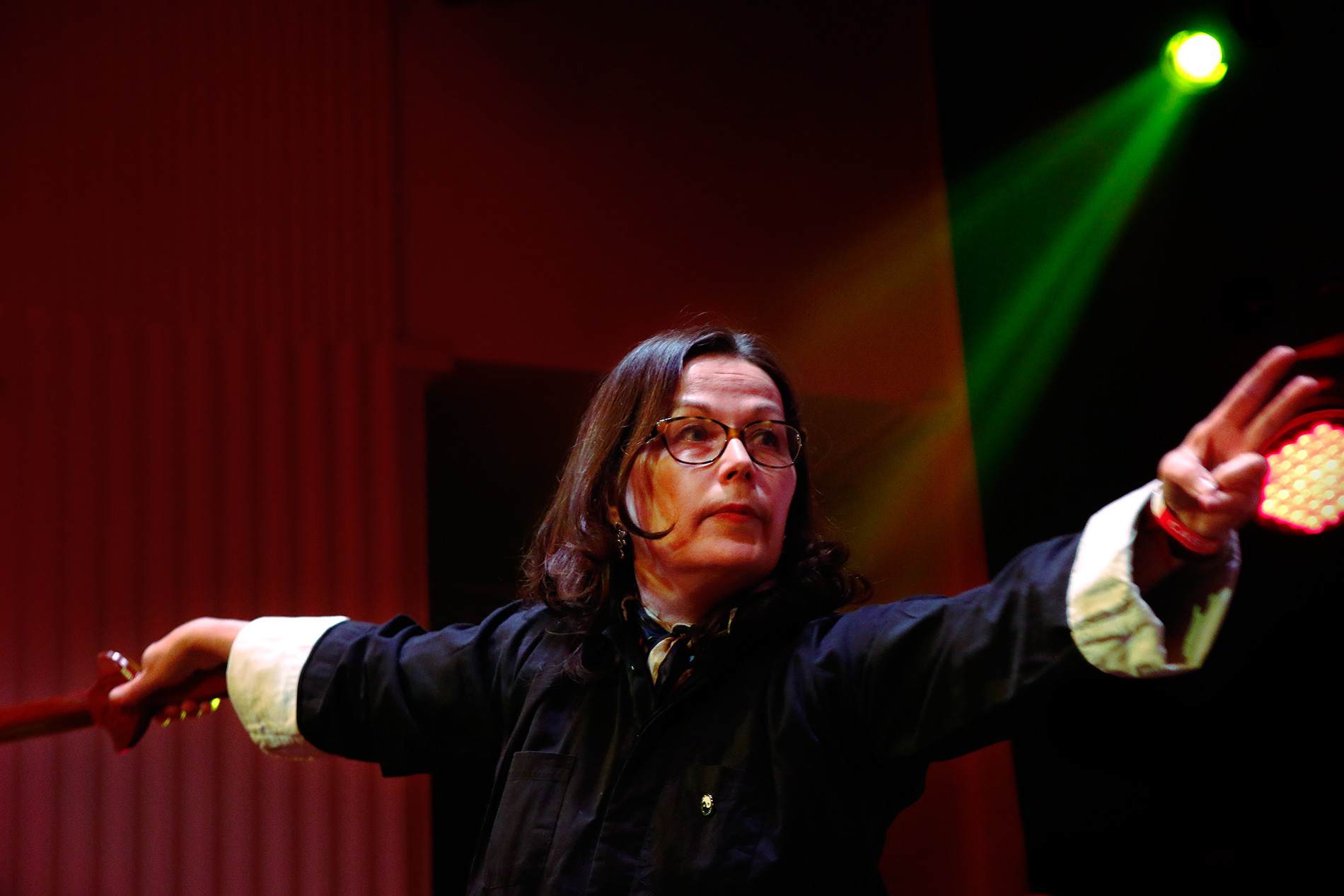 Anne Ahonen has been studying tai chi since 1996. In her hands, the wooden sword seems light like a feather. Picture: Tony Öhberg for Finland Today