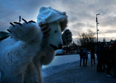 Polar bear is a common sight in climate protests. Picture: Tony Öhberg for Finland Today