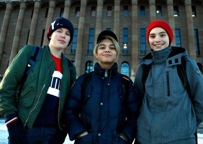 Alexander Wallgren, 16, Hannes Lagerstedt, 17, and Ben Bruncrona, 16, wouldn't accept a plastic bag in a store. They carry their own recyclable bags. They also prefer the bus and the tram over a car. Picture: Tony Öhberg for Finland Today