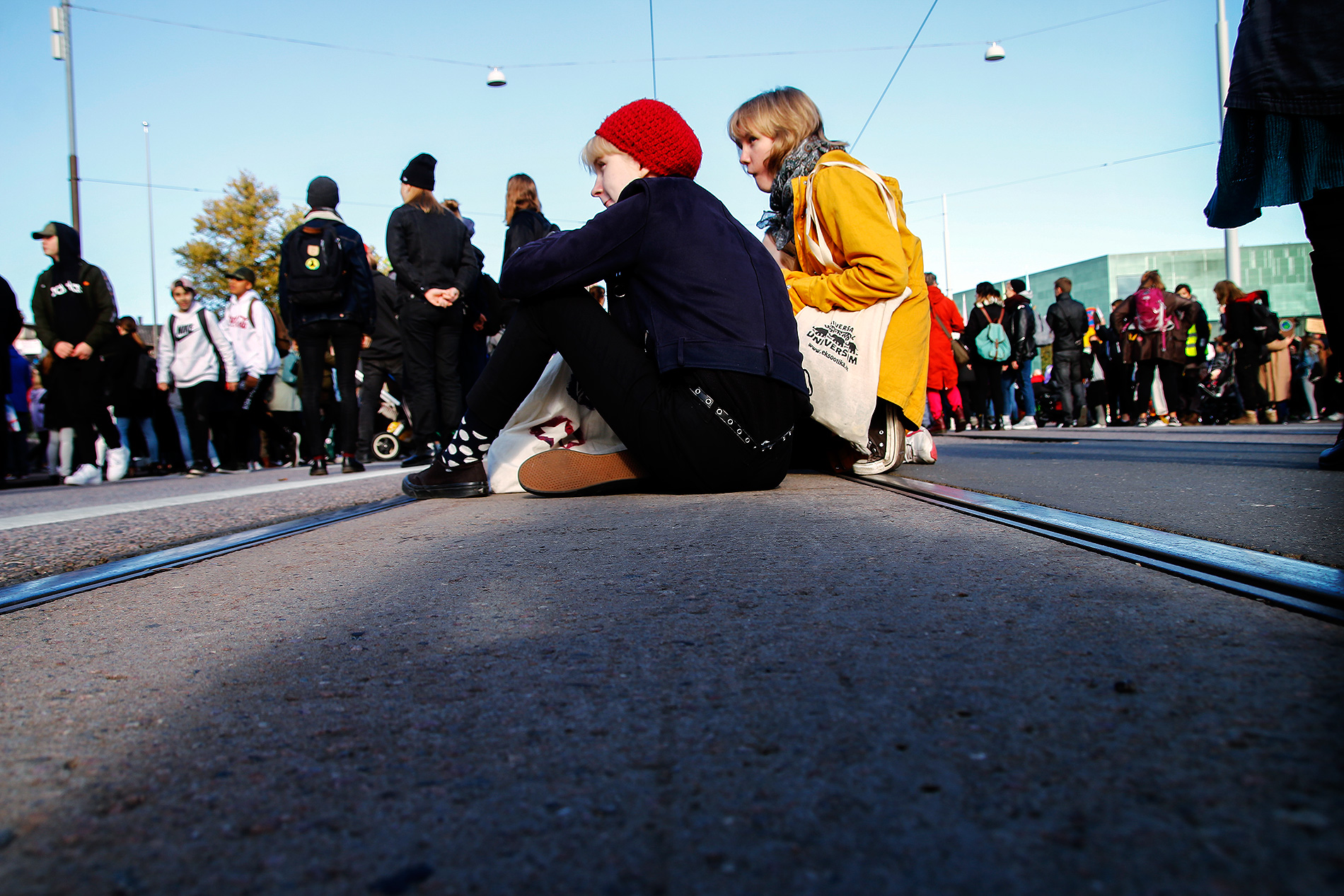 Protesters sitting on Mannerheimintie. Picture: Tony Öhberg for Finland Today