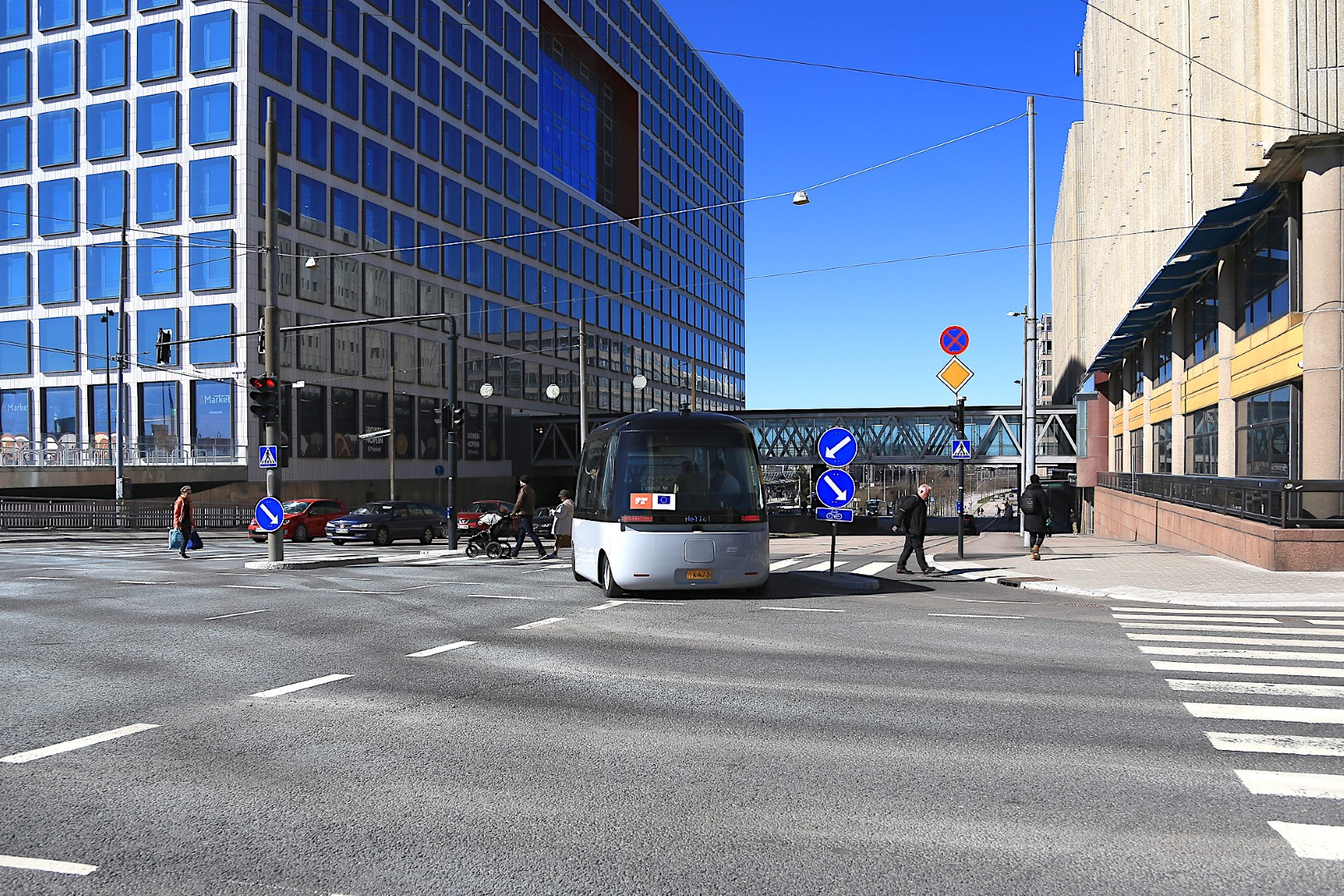 The driverless bus in traffic in Helsinki's Pasila district. Picture: Forum Virium Helsinki