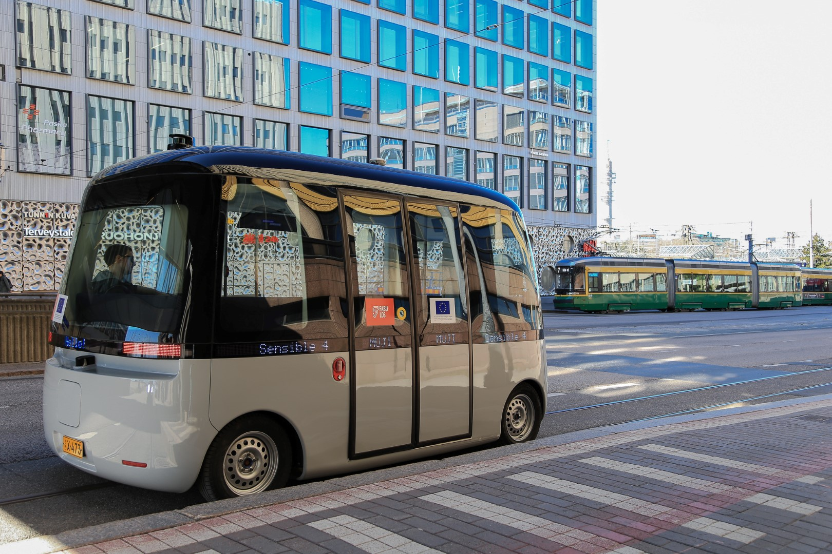 The robot bus will begin shuttling regularly in Helsinki on Wednesday, June 10. Picture: Forum Virium Helsinki
