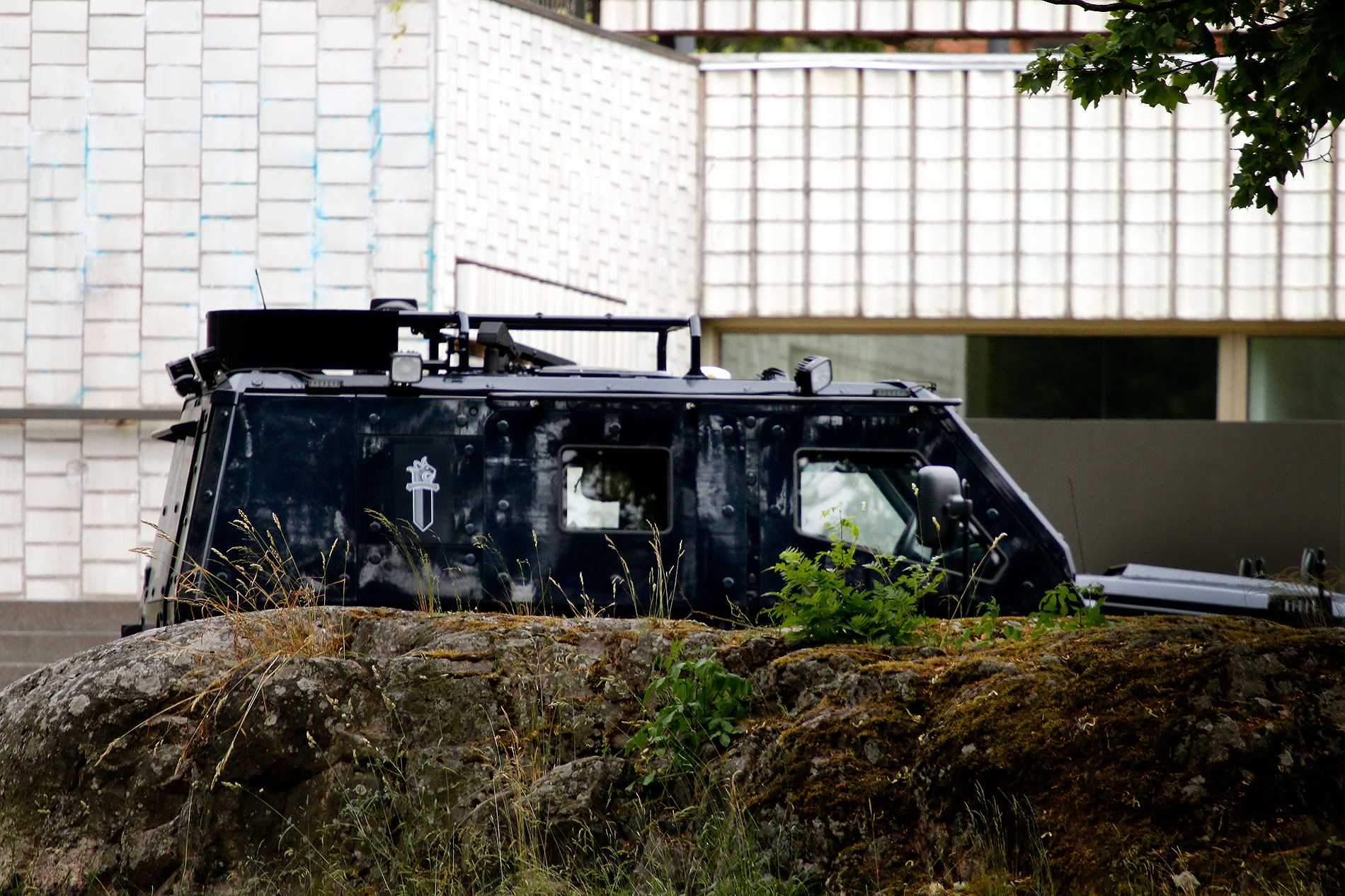 An armored police vehicle at the Helsinki City Theatre on June 29, 2020. Picture: Tony Öhberg/Finland Today