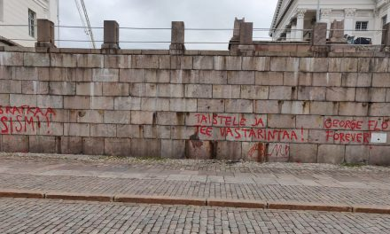 The Retaining Wall of the Helsinki Cathedral Covered With Spray-Painted Slogans Against Racism