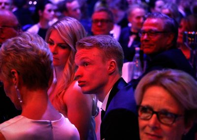 Skier Iivo Niskanen and his spouse, Saana Kemppainen, are nervously waiting for the results of who will be the Athlete of the Year at the Finnish Sports Gala in Helsinki Arena on January 17, 2019. Picture: Tony Öhberg for Finland Today