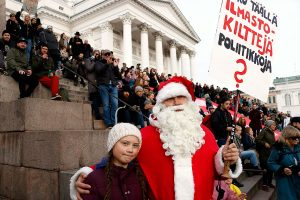 Santa Claus at the March Against Climate Change in Helsinki: We Would Like to Have Winters as they U...