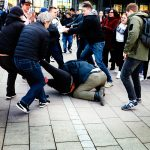 Teenagers Attack Finnish People First Party Chairman Marco De Wit Several Times in the Middle of His Election Campaign in Helsinki Center