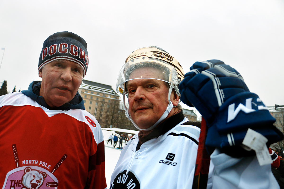Niinistö has the eye of the tiger while he's standing next to Viacheslav 'Slava' Fetisov, who was during his active career regarded as one of the best defensemen in the history of ice hockey. Picture: Tony Öhberg for Finland Today
