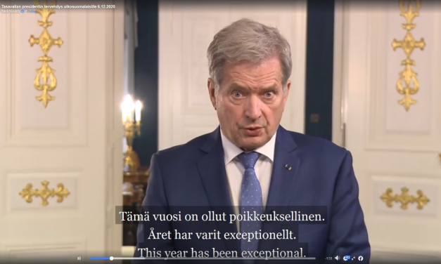VIDEO: President Niinistö Gives an Encouraging Independence Day Greeting to Expatriate Finns
