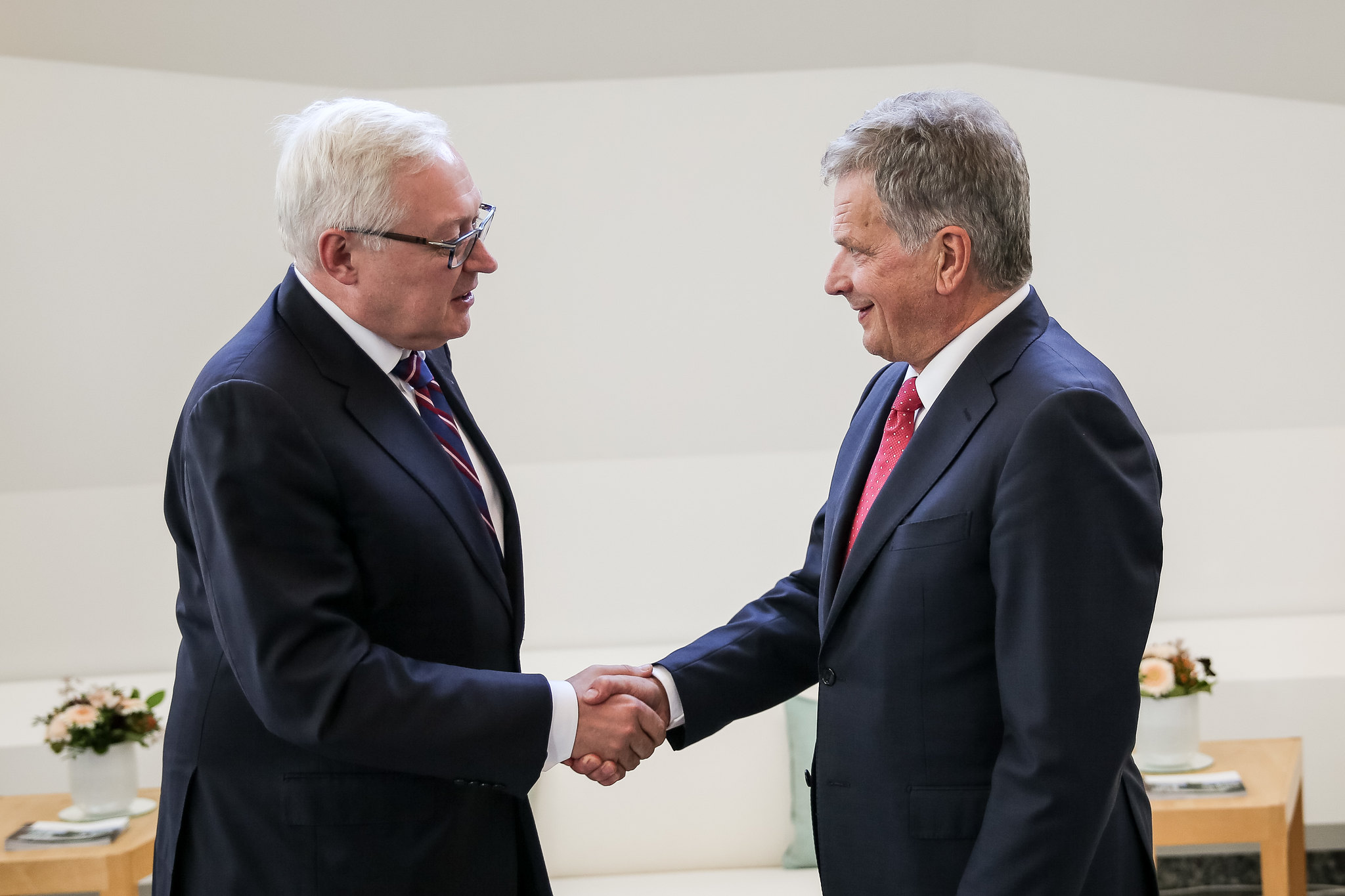 President Niinistö met with Deputy Foreign Minister of Russia Sergei Ryabkov in Mäntyniemi on September 12 2017. Photograph: Matti Porre/Office of the President of the Republic of Finland