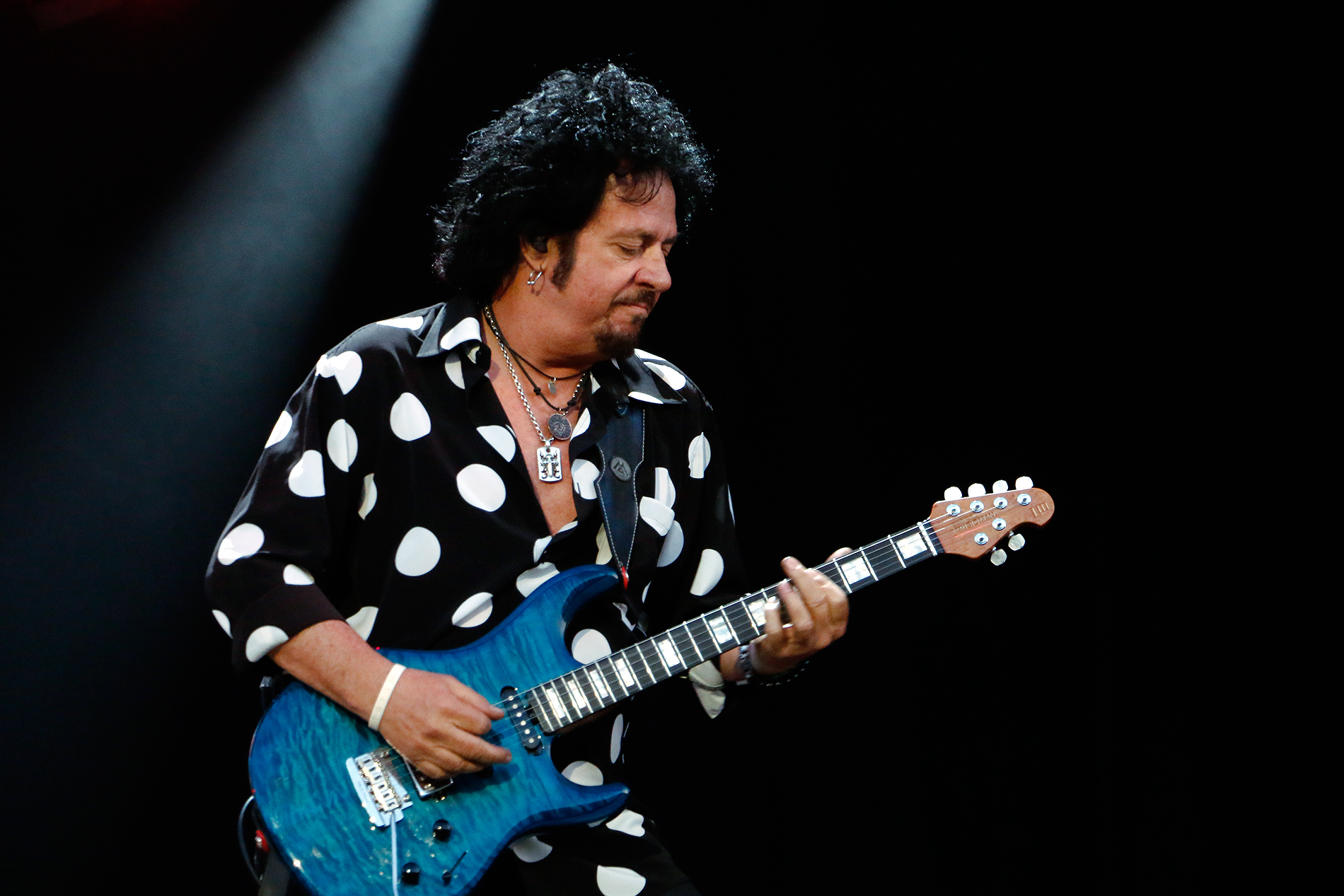 Lukather, 61, still practices his playing daily. He aims to refine his skills and describes himself as a student always wanting to learn more. In Pori, his riffs and solos were rock-solid. Picture: Tony Öhberg for Finland Today