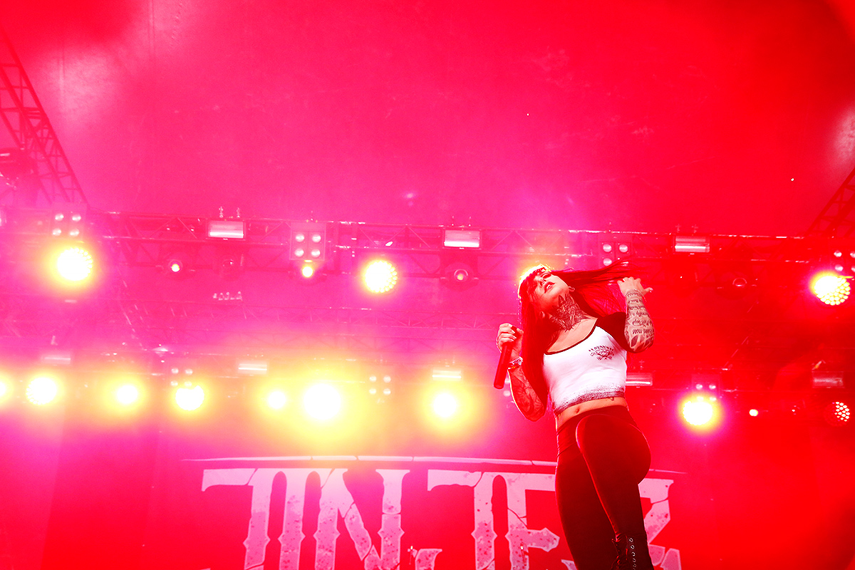 Tatiana Shmailyuk, vocalist, Jinjer. Tuska 2019, June 30, Helsinki. Picture: Tony Öhberg for Finland Today
