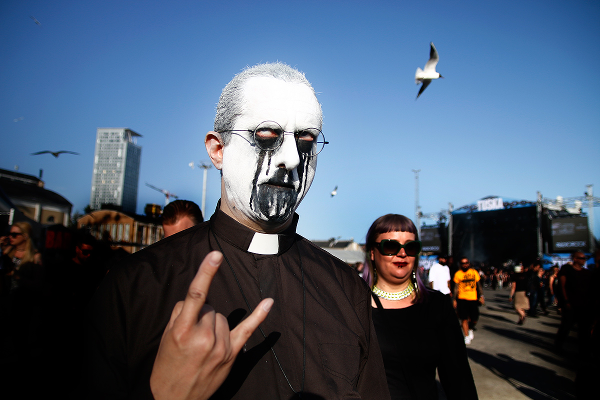 Man in the painted mask. Tuska 2019, Helsinki. Picture: Tony Öhberg for Finland Today
